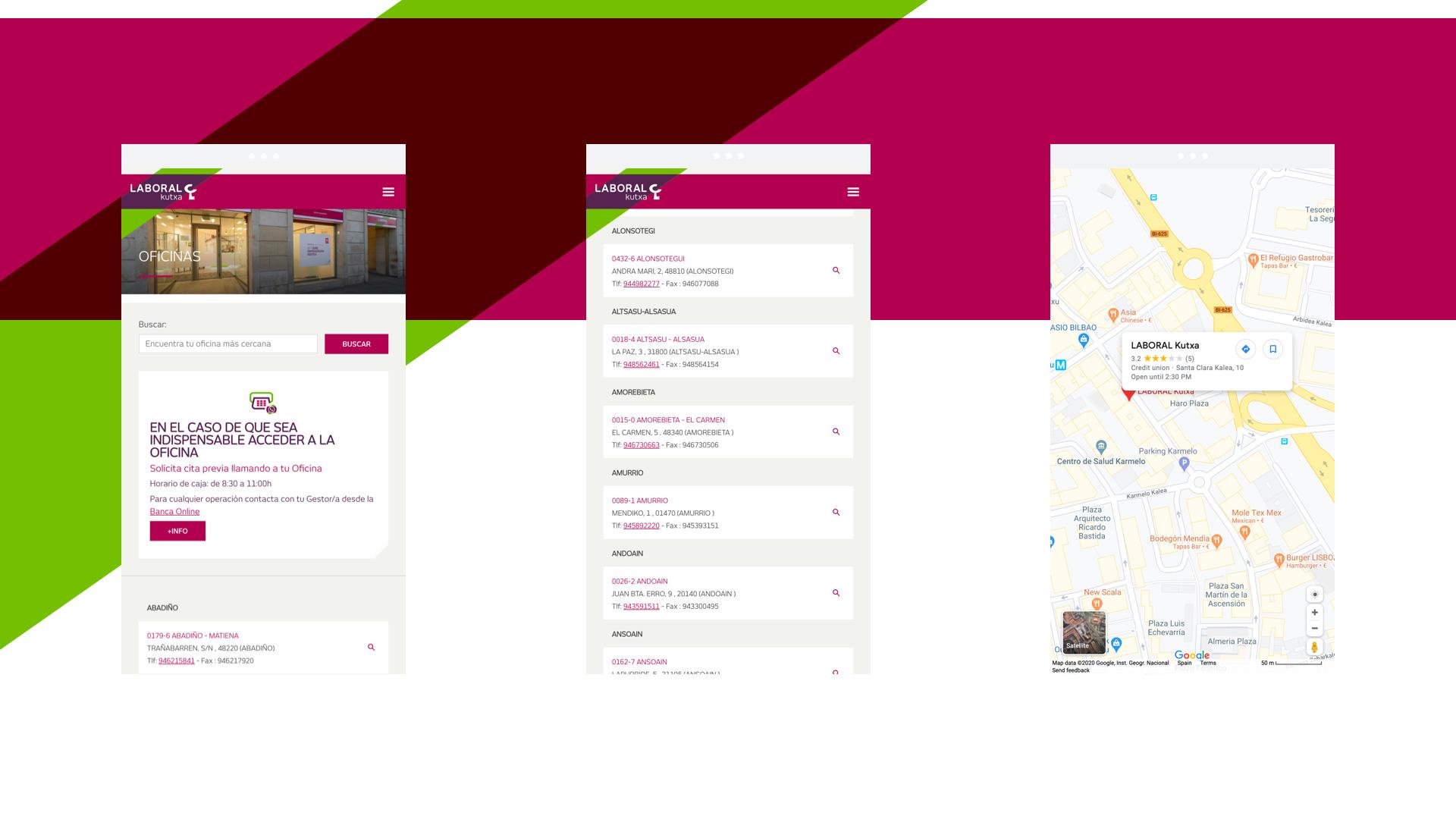 Página web de Laboral Kutxa en mobile